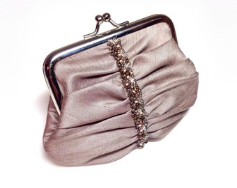 Swarovski beaded coin purse in Taupe/ Light brown
