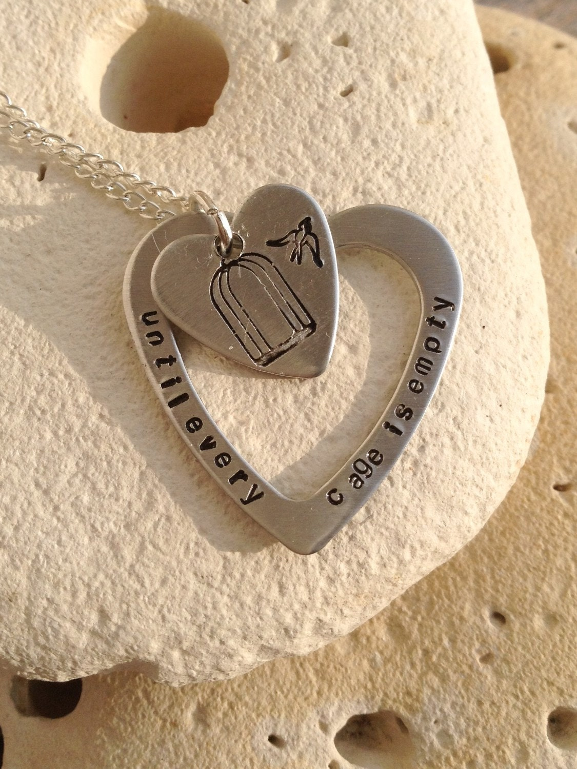 "Vegan necklace, vegan jewelry, until every cage is empty, animal rights, handstamped heart washer and heart pendant on 18"" chain."