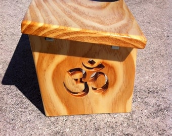 Hand Crafted Natural Finish Meditation Bench with Hand Painted Om and Om Legs