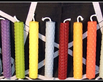 Beeswax 4 inch Spell Candles Handrolled Set of 13 candles Chime  Rituals Altar Items Smokeless Altar Candles Pagan Wicca Wicca Witch