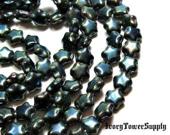 1 Strand 6mm Czech Glass Beads, Green Beads, Star Beads, Glass Beads