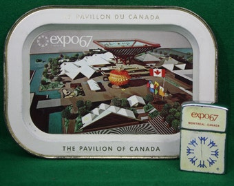 Expo 67 Commemorative Lighter and The Pavilion of Canada Metal Tray