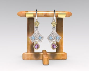 Earring14kt yellow gold and silver ,gem stones