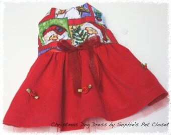 Christmas Dog Dress - XS, S...Holiday Pet Clothes, Holiday Dog Dress, Santa Dog Dress, Pet Clothes, Dog Clothing, Christmas Pet Outfit