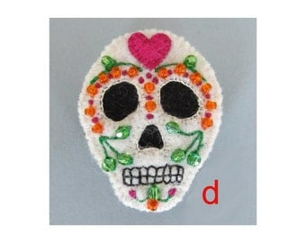 SALE Sugar skull felt brooch - pink heart D