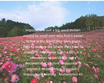 Inspirational poster, Vancouver Etsy Poster, Handmade Poster, Motivational Poster, Muhammed Ali Definition of Impossible Poster