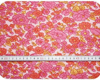 Floral retro vintage fabric NOS / New Old Stock - pink, orange and yellow