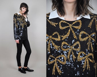 ON SALE Gold Bow Sequined Silk Blouse