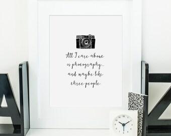 Photography Quote Print Printable wall art decor - typography printable camera wall decor - digital wall art