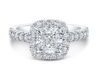 Cushion Cut Halo 6mm Moissanite Engagement Ring made in 18K White Gold