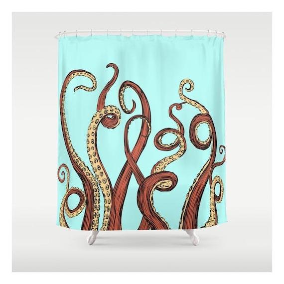 Aqua Octopus Shower Curtain Custom Made Curtains