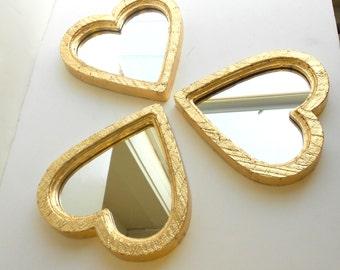 "6""x6"", Mirrors Gold, Heart Mirrors Decorative Mirrors, Gold Frame Mirrors, Wall Mirrors,  Distressed Gold Leaf Mirrors, Wall Mirrors (3)"