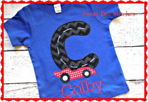 Race car shirt personalized embroidered