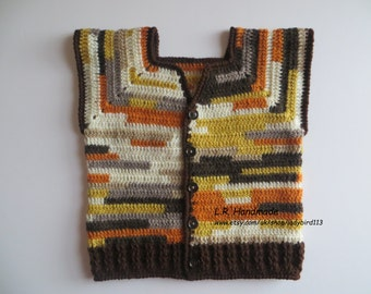 Boys Vest, Crochet Boys Vest, 3 to 5 yrs, Toddler Clothes, Multi-Color vest, Brown, Soft and Warm, Sweater vest, wool, Sweater, winter vest