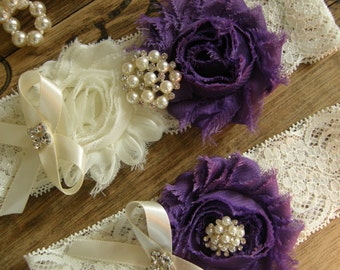 Wedding Garters / Garter / Ivory / Purple / Bridal Garter / Toss Garter / Vintage Inspired / Garter Set