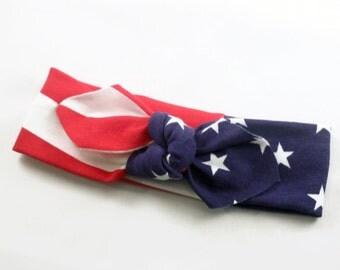 July fourth headband, july 4th headband, american flag headband, labor day knot headband, star headband READY TO SHIP