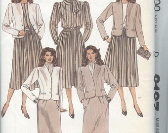 1980s Suit Pattern McCalls 9197 Jacket Blouse Skirt Scarf Womens Sewing Patterns Size 16 uncut