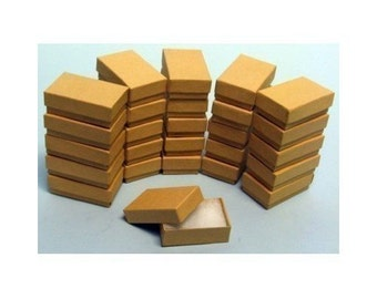 "100 Kraft Cotton Filled Jewelry Gift Boxes Size 3 1/4"" X 2 1/4"""
