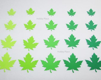 Paper  leaf die cuts / Maple paper leaves/ Green shade maple leaves/ Die Cut Leaves/ 50 pc set