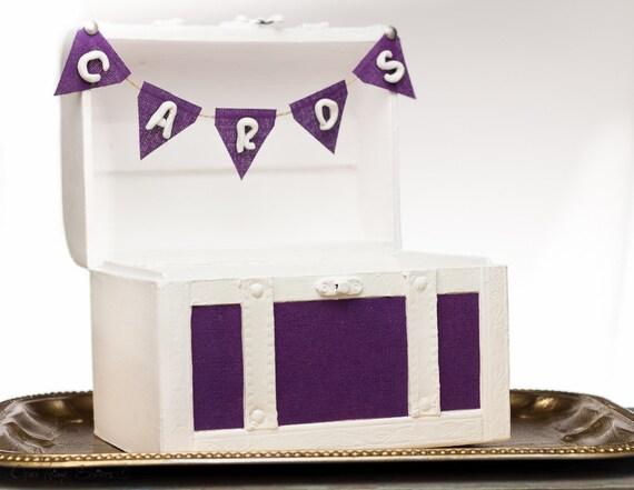 Wedding Gift Card Box Holder: Purple Wedding Chest Gift Card Box Holder