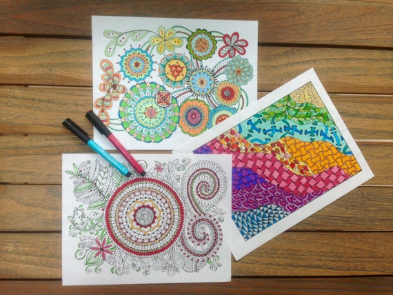 Printable Zen Coloring Book FIVE Coloring Pages for Children