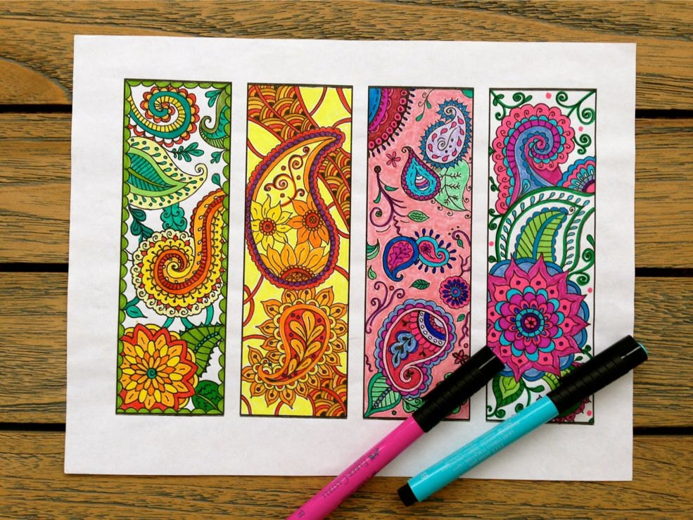 Paisley Bookmarks Printable Bookmark Coloring Page