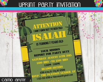 Camoflauge Army Birthday Party Invitation - Printable
