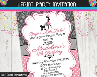 Paris Party Invitation - Girl Party Invitation - Damask - Custom - Printable - French - Parisian