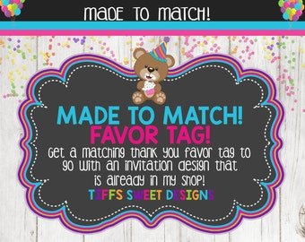 Made to Match Party Printable Thank You Favor Tags