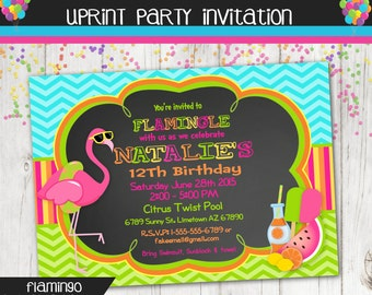 Flamingo Invitation - Pool Party - Summer Party - Summer Birthday -