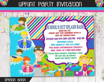 Schools Out Water Party  Invitation -Pool Party  - Water Balloons - Water War - Custom Printable