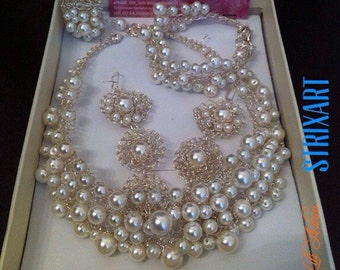 Bridal jewelry set,wire knitting with pearls-swarovski pearls-wire crochet set-gift-wedding-silver set-girls-gift-handmade-knit