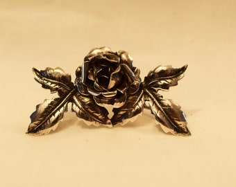 Vintage 1950s Mexican sterling silver rose brooch