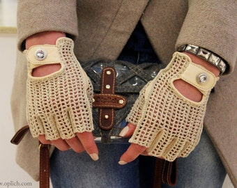 Women's Fingerless Driving Gloves / Glamourous crochet mittens/ Natural Beige color/ Genuine lambskin and Cotton