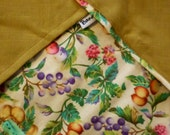 Wild Fruits: Mixed Fruit Print on Cotton & Loose-Weave Moss Green Linen  Reversible Bandana with Stash Pocket by BandHäna