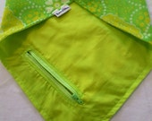 Lime Love:Vintage Yellow/White/Lime Retro Print on Superlight Mesh & Neon Green Cotton Reversible Bandana with Stash Pocket by BandHäna