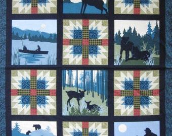 Mountain Majesty Panel -  Quilt Blocks Camping & Fishing Scenes Dark Turquoise #310