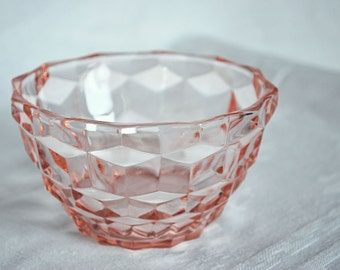 Pink depression-cube/cubist bowl-1930s-collectable