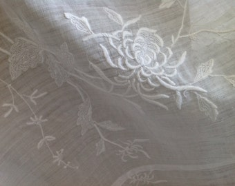 Sheer Embroidered Coverlet