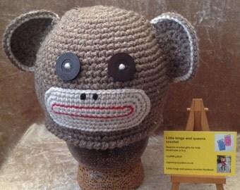 Monkey crochet hat, brown monkey hat, animal hat, crochet hat, photo prop