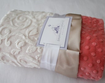 Ivory Embossed Vine with Coral Minky Dot and Gold Satin Trim, Baby Shower, Crib Bedding, Satin, Gold and Pink, Salmon