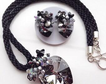 Black jewellery - black statement jewellery - occasion jewellery - gifts for her - women jewellery - Swarovski handmade