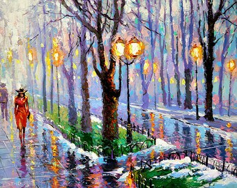 "Spring park - Palette knife oil painting on canvas by Dmitry Spiros. Size: 24""x32"", (60x80cm)"