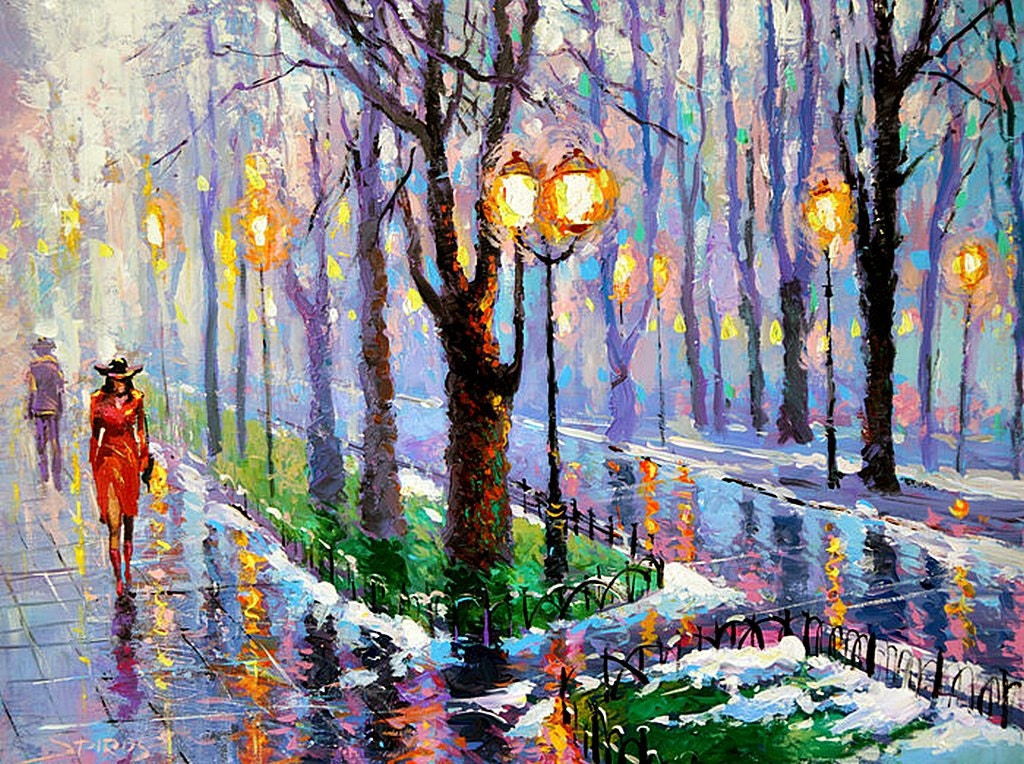 Spring park palette knife oil painting on canvas by dmitry for Spring canvas paintings