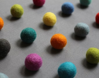 Felt Ball Magnets // Pack of 10 // Assorted Colours