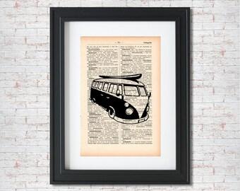 Volkswagen Bus Surf Vintage Dictionary art print - Upcycled dictionary art - Book print page art #038