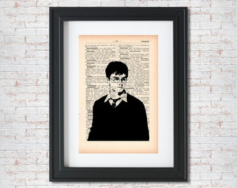 Harry Potter Silhouette Dictionary art print - Upcycled dictionary art - Book print page art #027