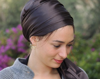 Deep Brown Stretched Satin Turban Sinar Tichel,Hair Snood, Head Scarf,Head Covering,jewish headcovering,Scarf,apron
