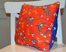 Curious George hand quilted child's cushion