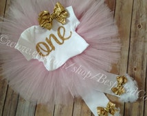 Baby Girl Birthday Outfit | Girls First Birthday Outfit | Gold One 1st Birthday Outfit |First Birthday Outfit Girl |Pink and Gold Birthday